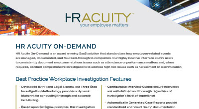 Product Sheet: HR Acuity Overview