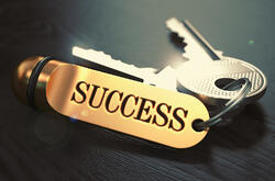 Keys to Success - Concept on Golden Keychain over Black Wooden Background. Closeup View, Selective Focus, 3D Render. Toned Image.-1