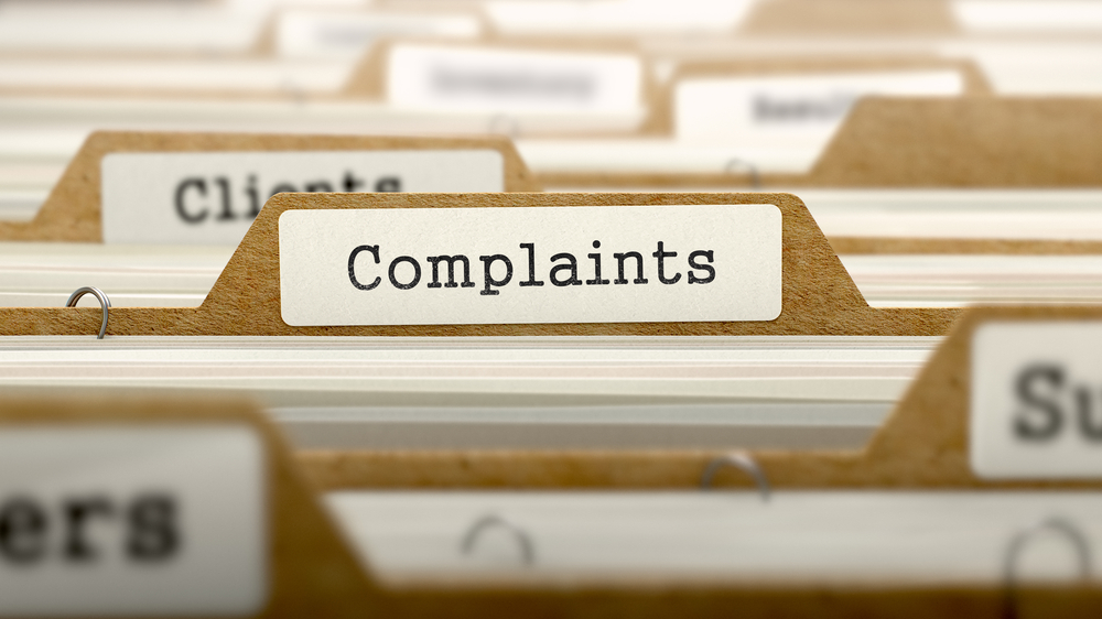 Complaints Concept. Word on Folder Register of Card Index. Selective Focus.